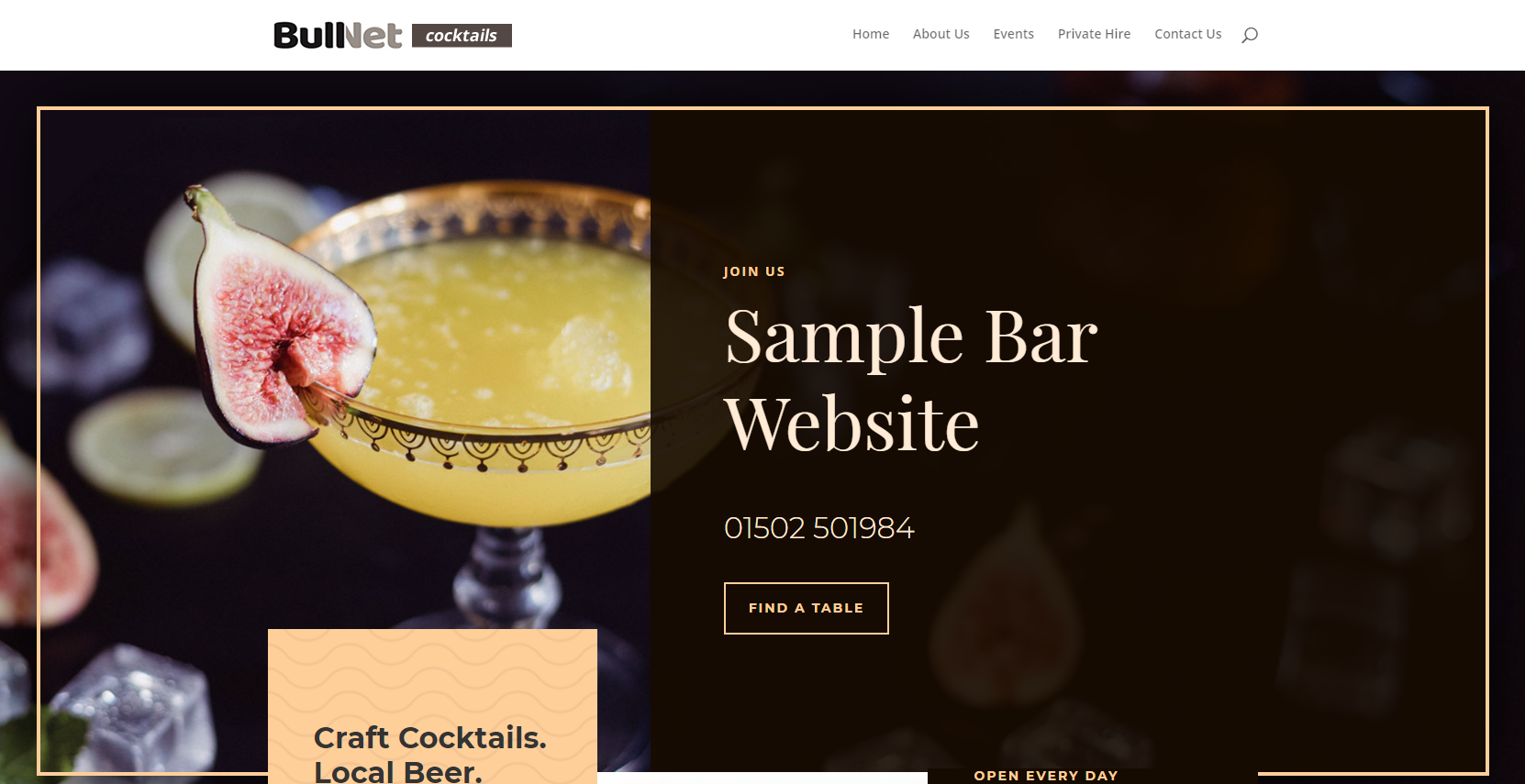 sample website for bars pubs and restaurants